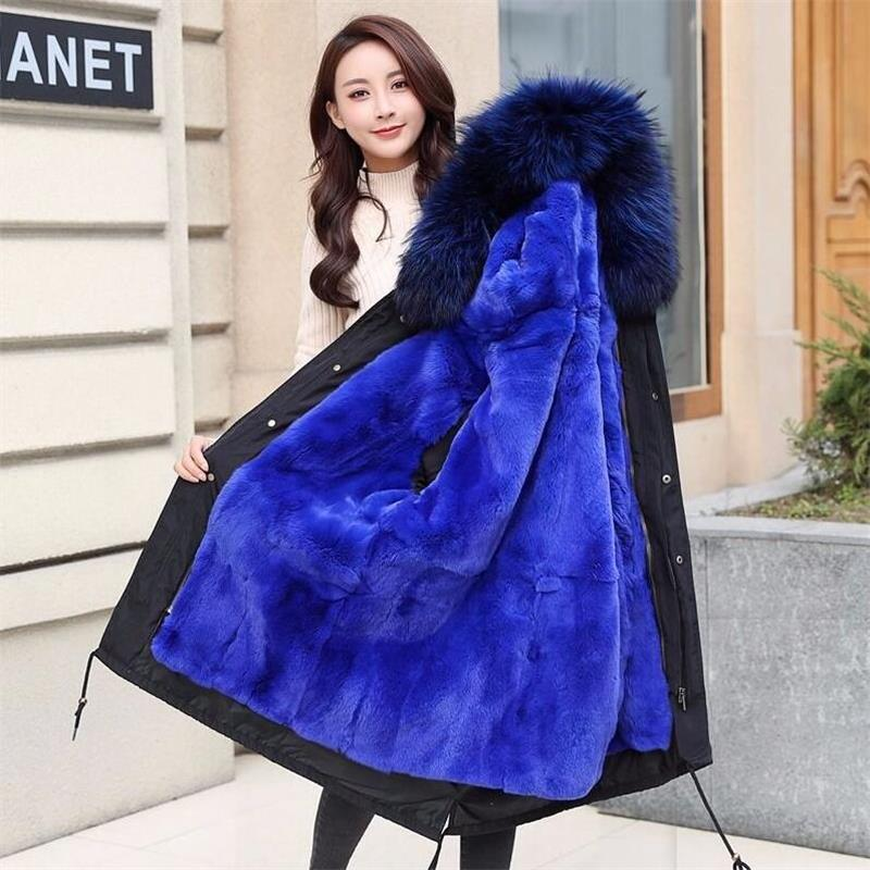 Luxus Großen echtpelz kragen Pelzmantel Frauen 2019 Winter Warme Pelz Mantel Lange Jacke Weibliche Mantel Tasche Lässig Teddy nerz mantel-in Kunstpelz aus Damenbekleidung bei  Gruppe 1