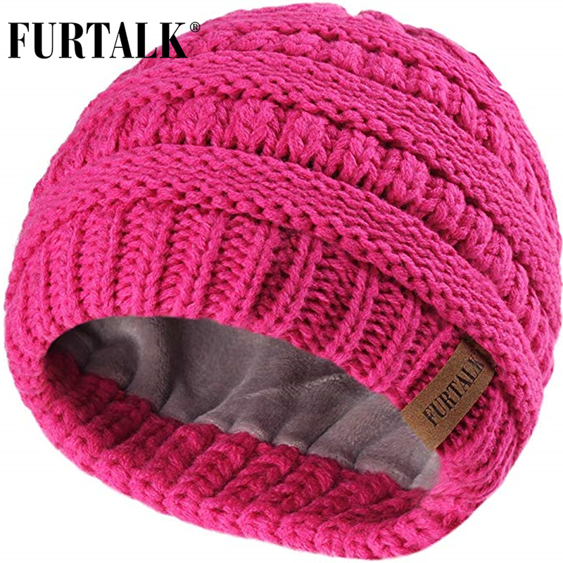 FURTALK Kids Winter Hat Toddle Girls Boys Fleece Beanie Hat Child Warm Knitted Slouchy Beanies Baby Winter Cap For 2-10 Years