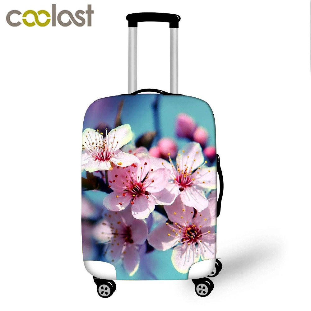 3D Print Flower Luggage Cover Dust-proof Travel Bag Cover 18-32 Inch Pink Suitcase Protective Covers Portable Travel Accessories