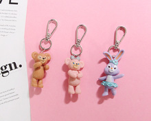 2019 Cute Cartoon key chain Stellalou Rabbit Duffy Bear Doll Keychains  for Women Bag Charms Ornament Jewelry Car Key Ring