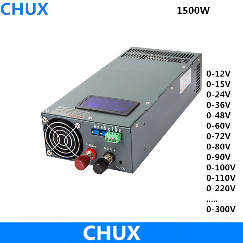 1500W Switching Power Supply display 0-12V Adjustable 15V 24V 36V 48V 60V 72V 80V 90V 100V 110V 220v 300v AC DC Power Supplies image