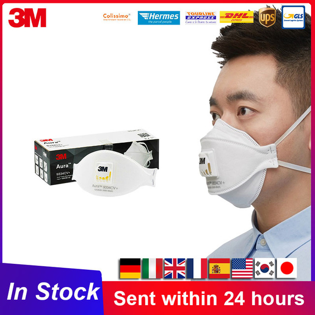 3M Aura Mask 9334CV KN95 Mask Protective Particulate Respirator Face Mouth Masks With Valve KN95 3M Mascarillas Fast Shipping