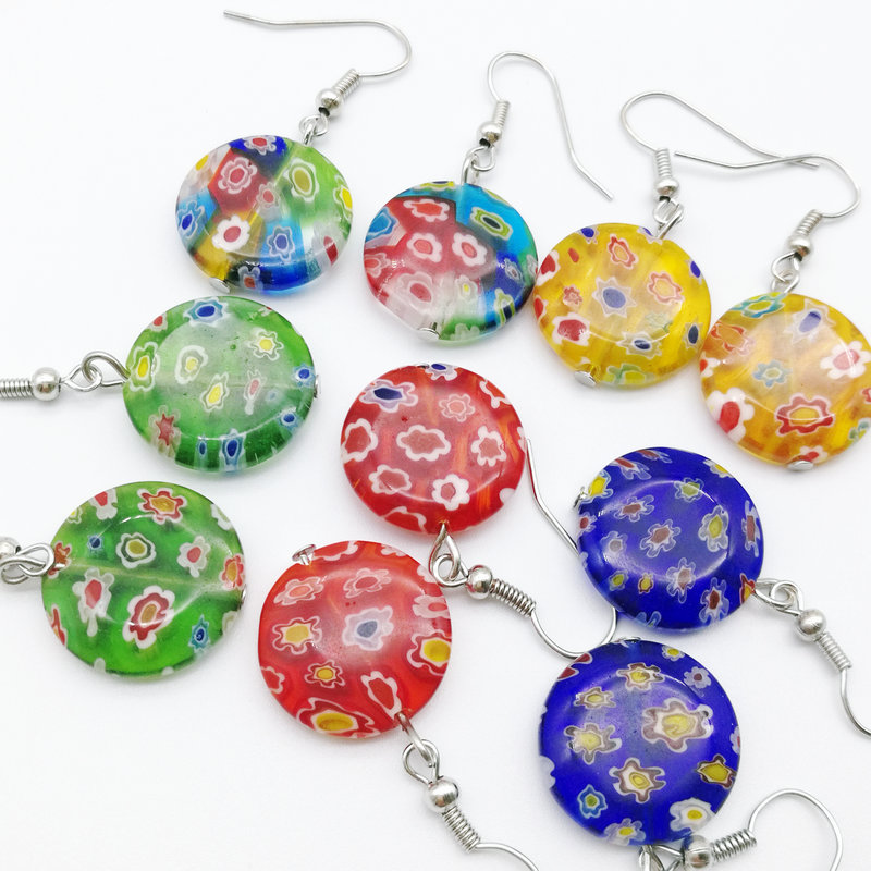 5 Pair Millefiori Glass Lampwork Murano Earrings 18mm FASHION mixed color(China)