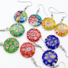 5 Pasang Millefiori Kaca Lampwork Murano Anting-Anting 18 Mm Fashion Campuran Warna(China)