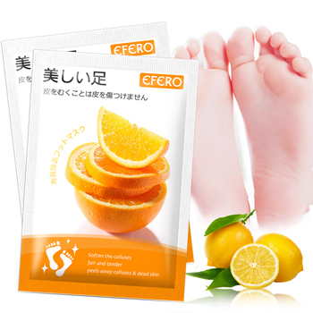 EFERO Orange Moisturizing Foot Mask for Pedicure Socks Nourishing Feet Care Foot Cream Exfoliating Foot Mask Dead Skin Remover daralis foot spa foot scrub cream exfoliating foot peeling cream dead skin remove whitening smooth moisturizing feet cream 200g