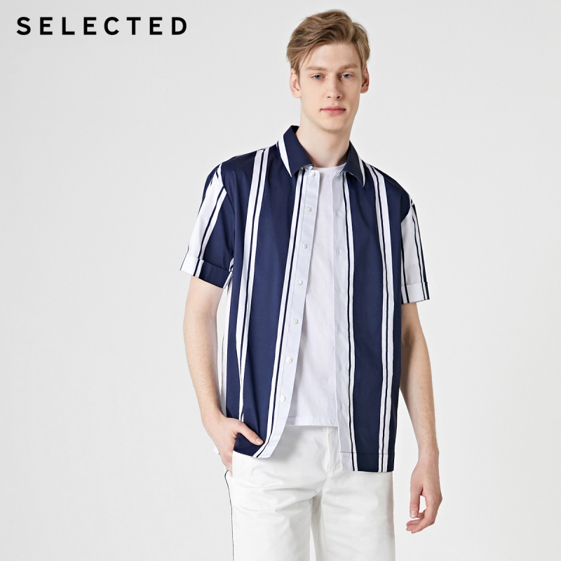 SELECTED Men's Striped Short-sleeved Contrast Stitching Trendy Retro Casual Shirt S|419204563