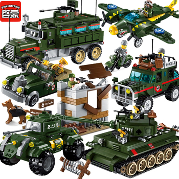 цена на Qman WW2 German Military Base Building Blocks Sets Vehicle Tank Planes Soldiers Model Bricks Educational Toys For Children Gifts