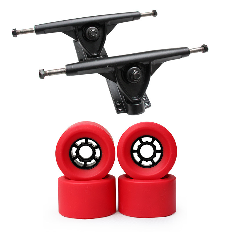 83*52mm Skateboard Longboard Trucks+ Wheels Holders Brackets Kit Magnesium Alloy