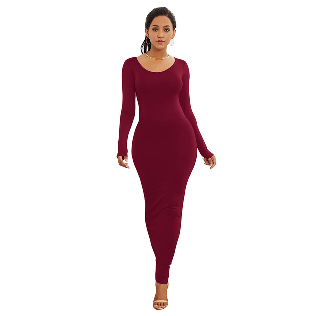 HOT SALES!!! Spring Autumn Sexy Women Solid Color Long Sleeve Round Neck Bodycon Maxi Dress evening party dress sexy comfortable 14