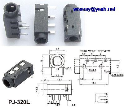 DHL/EMS 1000PCS 4-pin 1/8 Inches  3.5mm Stereo Jack Socket For Video Camera 3.5MM Headphones MIC-A7