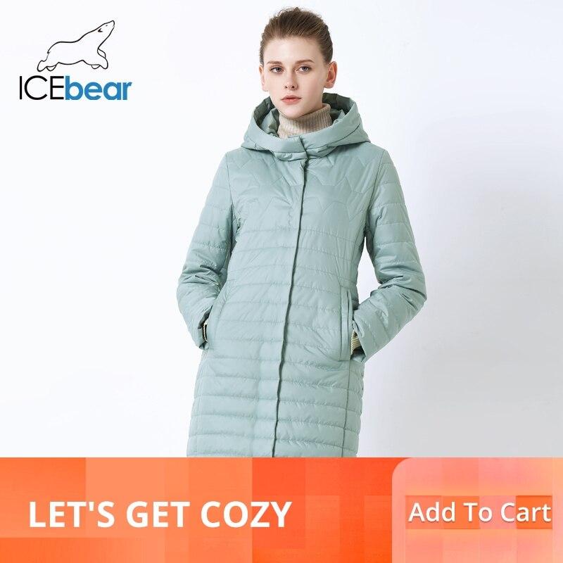 Icebear 2019 새로운 여성 자 켓 고품질 후드 가을 여성 코트 코 튼 의류 단일 브레스트 중간 길이 gwc19067i-에서파카부터 여성 의류 의  그룹 1