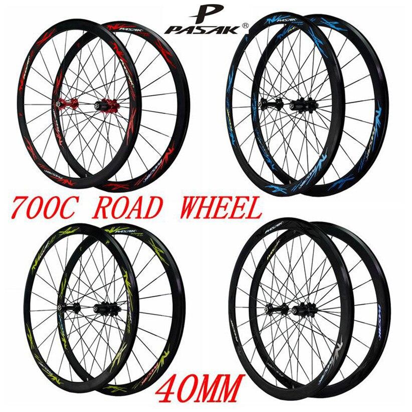 700c conjunto de roda da bicicleta da estrada 40mm raios planos ultra leve palin rolamento roda 11 velocidade c/v freio rodado aro