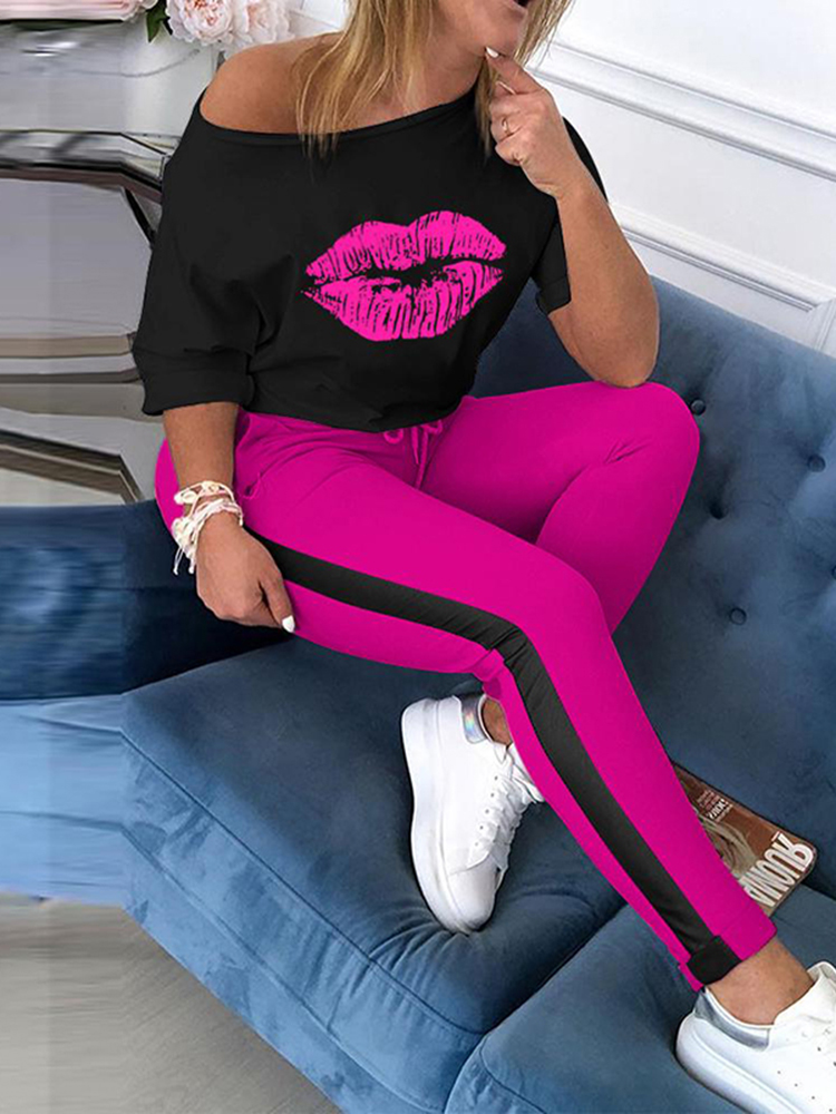 Women Casual 2 Piece Set Print Pink Lip Sexy Off Shoulder Tops With Bandage Trousers Tracksuit Sporting Loose Pantsuit SJ5894C