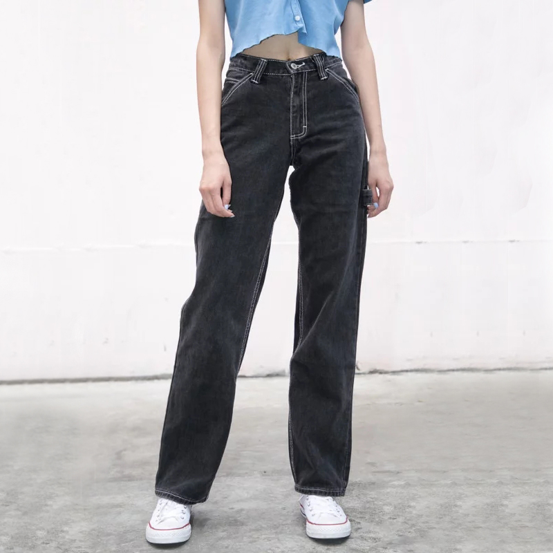 Women High-rise Faded Black Denim Jeans With White Stitching Straight Leg Denim Pants