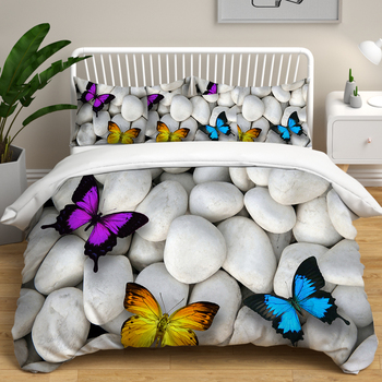 Bedding Duvet Cover set HD Stones Butterfly Starfish Pattern Room Comforter Bedding sets Quilt Cover Pillowcase Home Bedding set