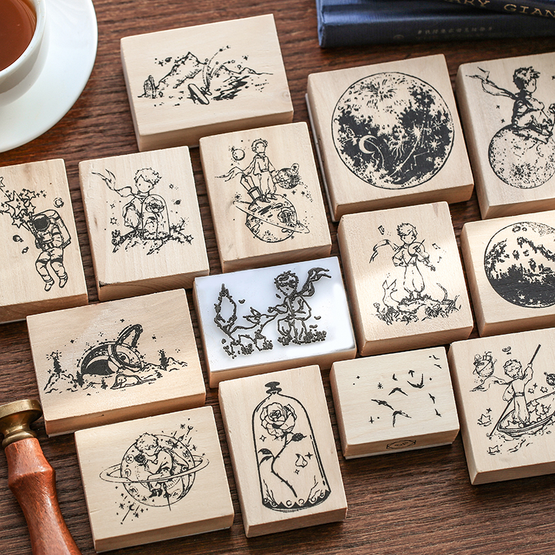 Le Petit Prince Series Decoration Stamp Wooden Rubber Rose Planet Stamps For Scrapbooking Stationery DIY Craft Standard Seal