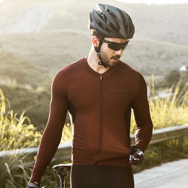 Santic erkekler bisiklet Jersey Pro Fit güneş koruyucu bisiklet MTB formaları uzun kollu yansıtıcı nefes asya boyutu M8C01099