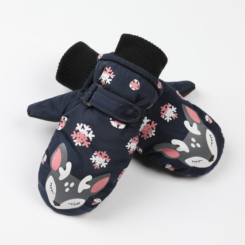 Детские зимние теплые лыжные перчатки для мальчиков и девочек, спортивные водонепроницаемые ветрозащитные Нескользящие зимние варежки, расширенные запястья, перчатки для катания на лыжах, варежки - Цвет: Dark Blue
