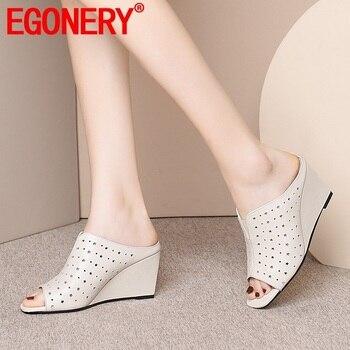 EGONERY summer newest fashion women slippers outside handamde genuine leather open toe high heels women shoes drop shipping