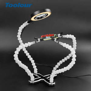Toolour Soldering Helping Hand Third Hand Tool Flexible Arm 3X USB LED Magnifying glass Lamp Welding Magnifier PCB Repair Stand