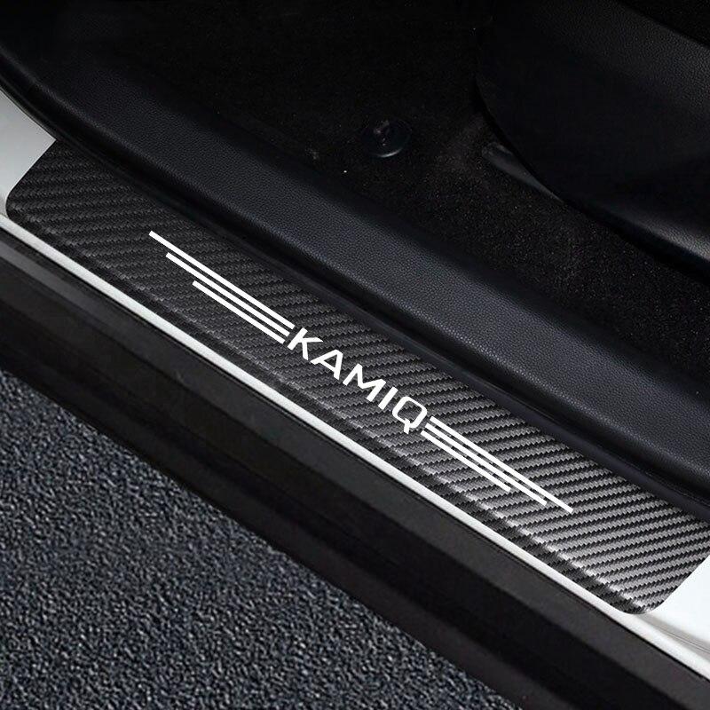 4 шт. для Skoda OCTAVIA III KAMIQ Углеродные волоконные наклейки Пастер и устойчивая к царапинам крышка автомобильные накладки на пороги наклейки на а...