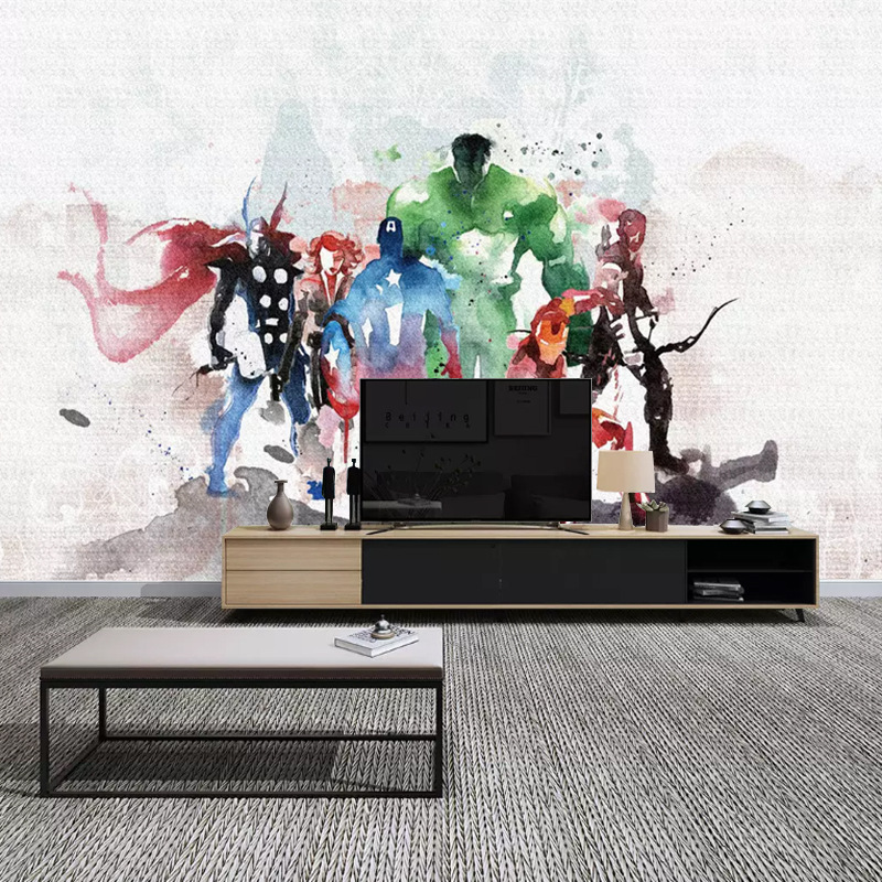 Northern European-Style CHILDREN'S Room Large Seamless Mural Wei Diffuse Superhero Cartoon Ink Boy Room Background Wallpaper
