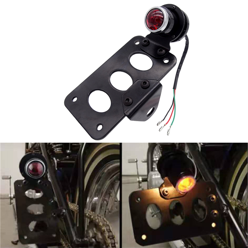 Universal Motorcycles License Plate Bracket Twin Light Integrated Tail Lights Side Mount Vertical Mount For Harley Sportster