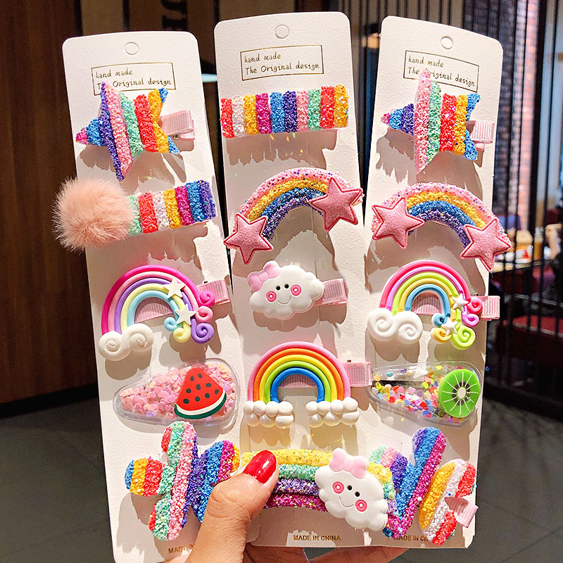 3/5pcs/Set New Girls Cute Rainbow Star Flower Hairpins Children Sweet Hair Clips Barrette Hair Ornament Fashion Hair Accessories