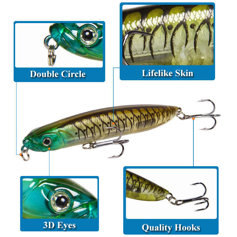 Matita Lure Esche Da Pesca 2019 Pesi 18g Pencil Popper Lungo Coperte e Plaid di Pesce Lure di Pesca Affrontare Articulos De Pesca Isca Artificiale