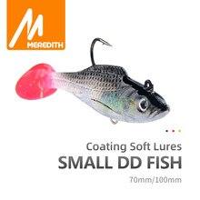 MEREDITH Kleine DD Fisch 70mm 100mm Blei Angeln Lockt T Schwanz Weiche Angeln Lockt Einzigen Haken Künstliche Wobbler köder Angeln