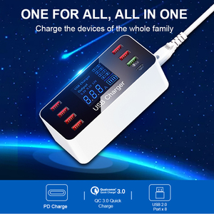 Image 2 - IHaitun LED 8 Cổng 8A 40W QC 3.0 Sạc USB Type C Di Động Thông Minh Đế Sạc Điện Thoại Cho iPhone X XS Samsung S10 Huawei P30 Pro