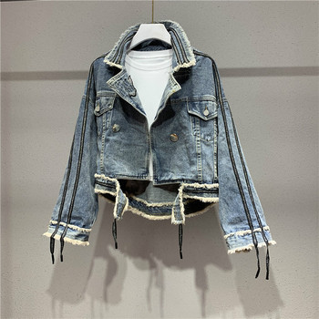 цены Denim Jeans Coat Women's Fashion Spring Autumn Slim Fit Short Denim Jacket Fashion Denim Coat Ropa Mujer Women's Denim Jacket