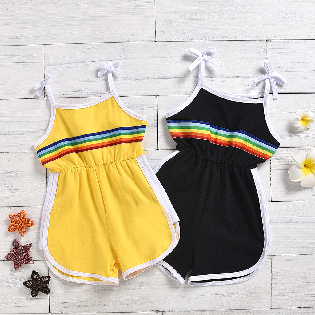 SZYADEOU Summer Jumpsuit Newborn Baby Girls Rompers комбинезон детский Rainbow Suspenders Romper Jumpsuits Outfits Clothes