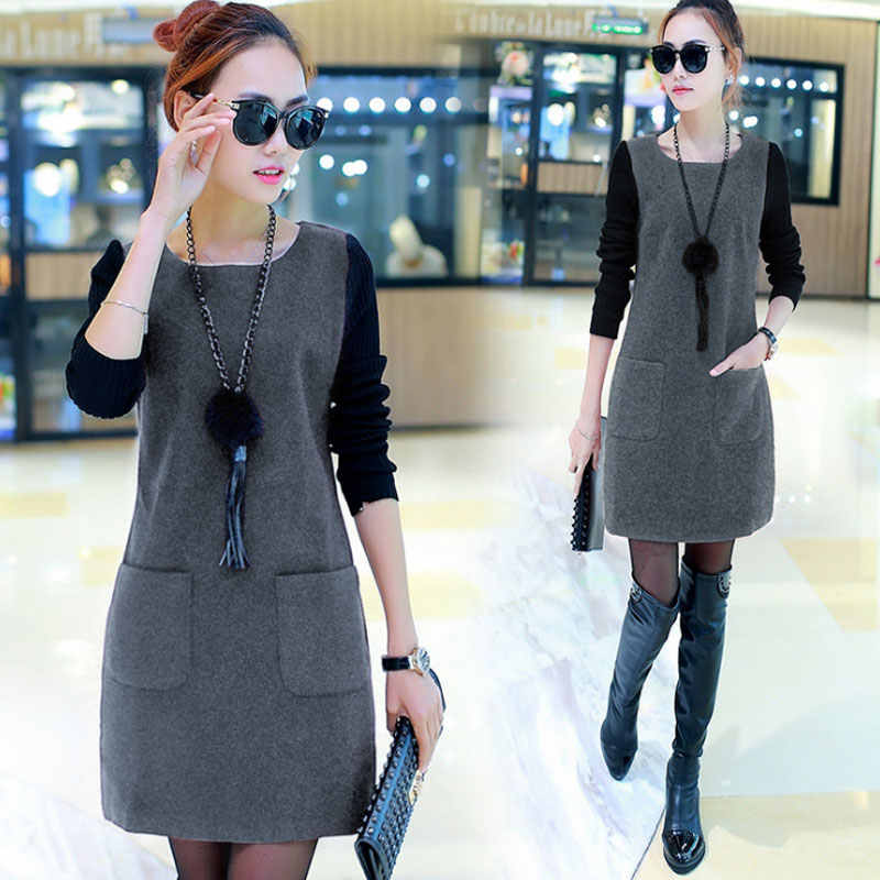 Women Fake Two Pieces Dress Pullover Round Neck Long Sleeves Autumn Outfits J9