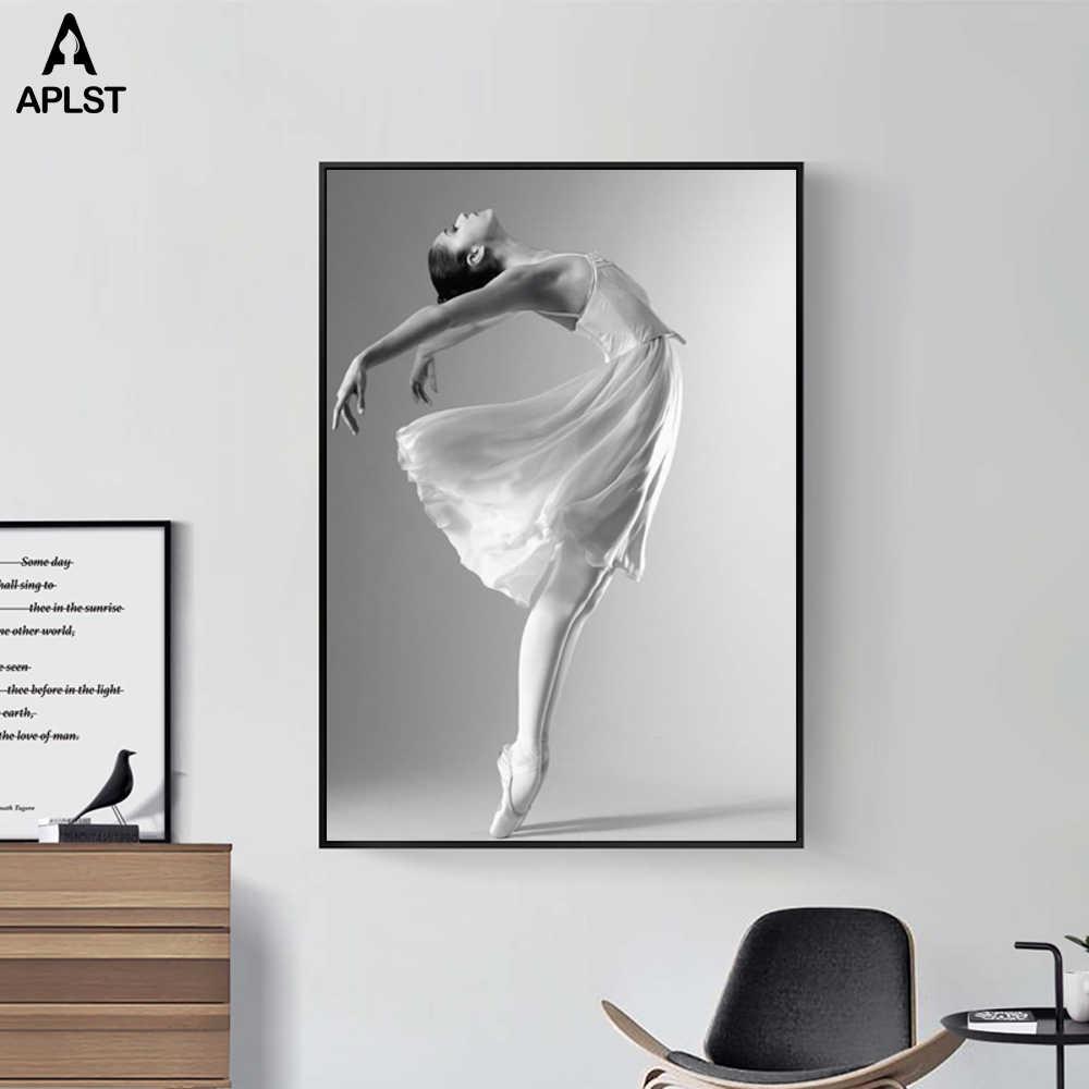 Hitam dan Putih Orang Potret Kanvas Poster Penari Balet Cetakan Gadis Dinding Seni Gambar Lukisan Kelas Dekorasi Ruang Tamu