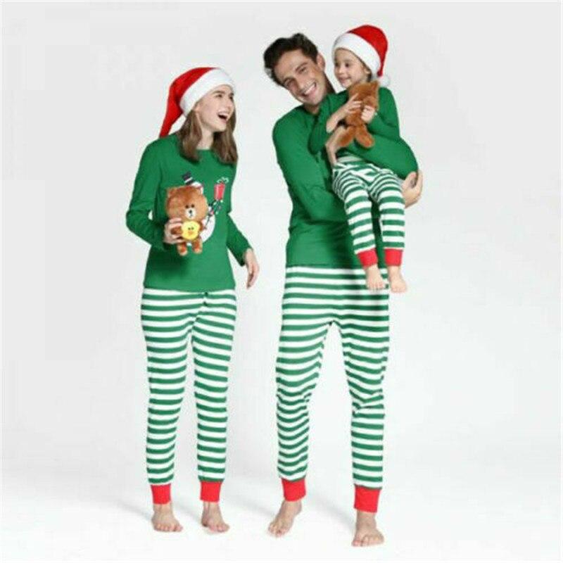 Imcute Family Matching Kids Mom Dad Christmas Pajamas Sets Adult Women Striped Santa Xmas Cute Sleepwear Nightwear