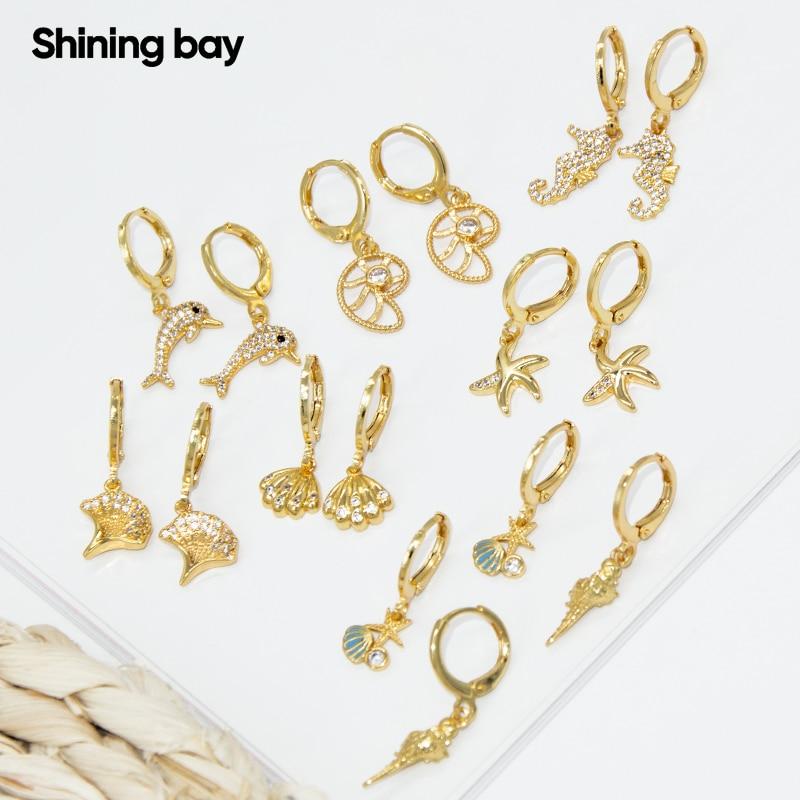 Sea Earrings for Women Gold Animals Dangle Earrings Micro Pave Zircon CZ Copper Paired Cute Earring Trendy Punk New Fashion 2021