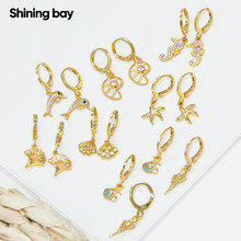 Sea Earrings for Women Gold Animals Dangle Earrings Micro Pave Zircon CZ Copper Paired Cute Earring Trendy Punk New Fashion 2021