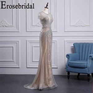 Image 3 - Erosebridal luksusowa suknia wieczorowa długa 2020 zroszony syrenka formalna sukienka dla kobiet Sexy Illusion ciało suknia wieczorowa Zipper powrót