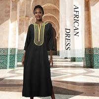 Fadzeco African Dress For Women V-Neck Embroidery Slit Maxi Dress  Dashiki African Couples Dress Women's Clothes African Clothes
