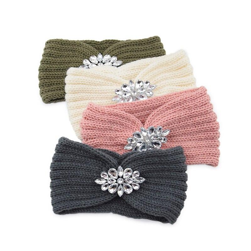 Bandeau tricoté pour femmes, en cristal transparent, fleur tordue, Crochet, strass, accessoires pour oreilles