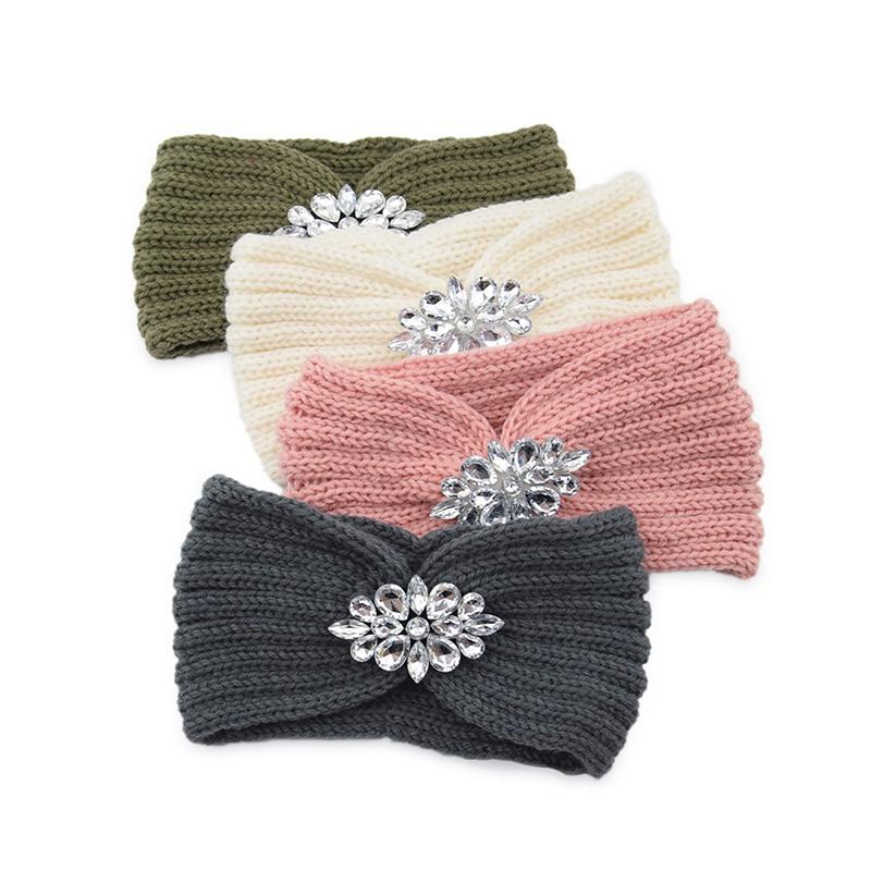 Winter Große Gestrickte Stirnband Frauen Klar Kristall Blume Twist Häkeln Haar Band Kopf Wrap Strass Ohr Wärmer Zubehör