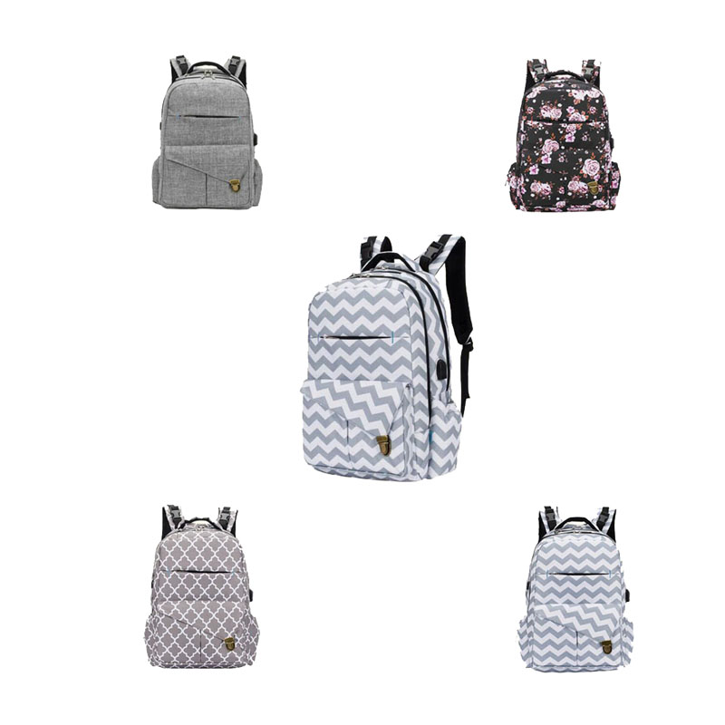 Outdoor Travel Large-capacity Multi-function Mummy Back Milk Bag With USB Charging Baby Trailer Bag Printing Insulation Bottle