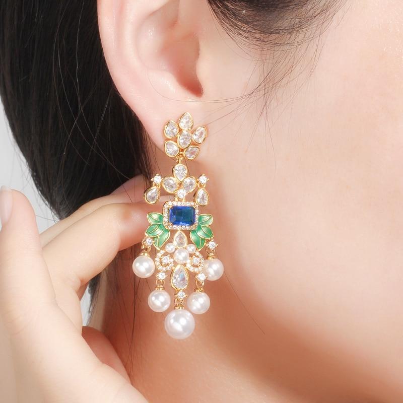 Image 2 - CWWZircons Flowers Cubic Zircon CZ Long Dangle Pearl Earrings for Women African Bridal Earring aretes de mujer modernos CZ656Drop Earrings   -