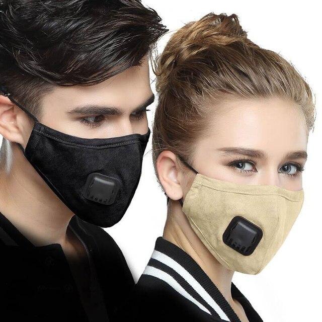 PM2.5 Mask Mouth Face Mask Respirator Dust Mask 5 Layers Washable Cotton korean black Masks