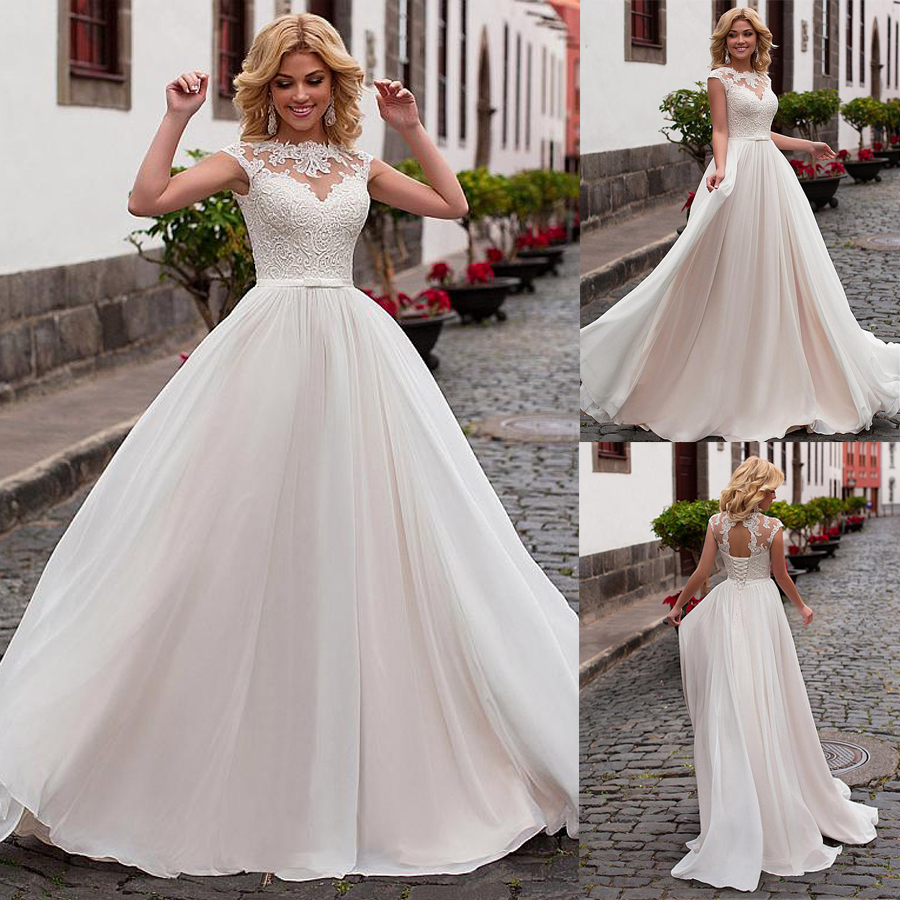 Dreamy Ivory Robe De Mariage Scoop Court Train Lace-Up Appliques Bows Natural-Waisted A-line Wedding Dresses