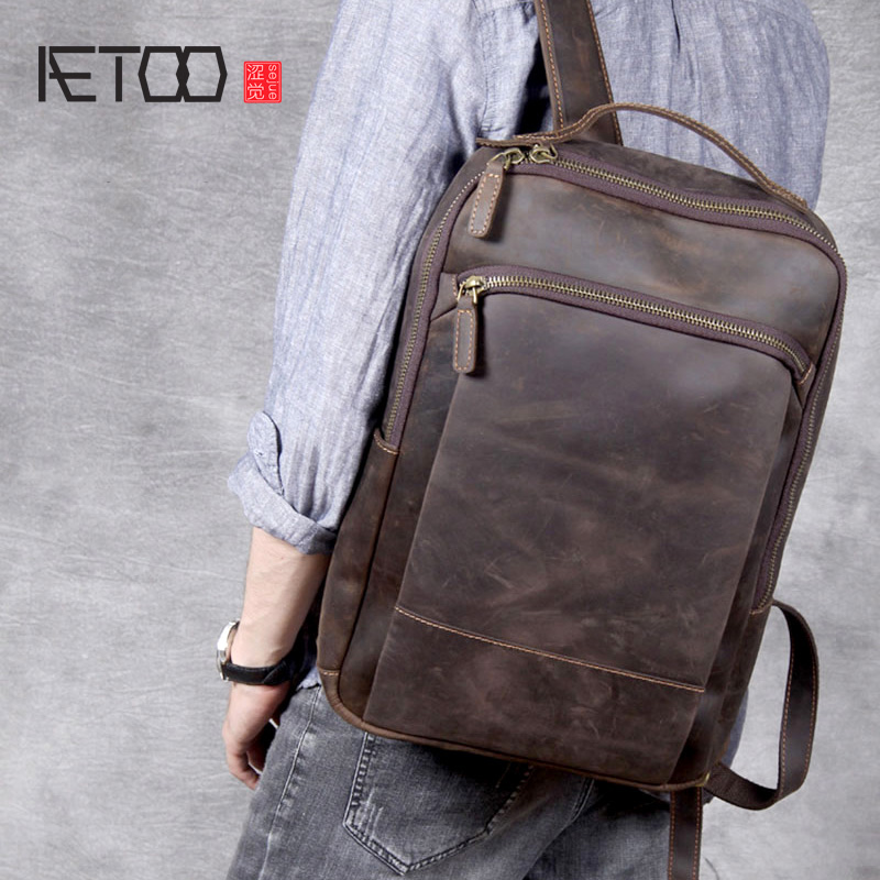 AETOO Vintage Crazy Horse Leather Shoulder Bag, Handmade Genuine Leather Backpack, Men's Cowhide Leather Computer Backpack