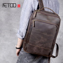 Bolso de hombro de cuero de Caballo Loco Vintage AETOO, mochila de cuero de cabeza hecha a mano, bolso de ordenador de cuero para hombre