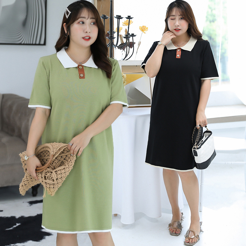 [Xuan Chen] Summer New Style Fat Mm Plus-sized WOMEN'S Dress Literature And Art-Style Jersey Dress A Generation Of Fat 7177