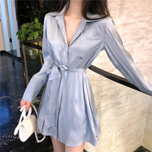Korean Style Fall Summer Women Dresses Fashion Trendy Glittering Mini Shirt Dress Silk  Female Long Sleeve Casual Lady Party